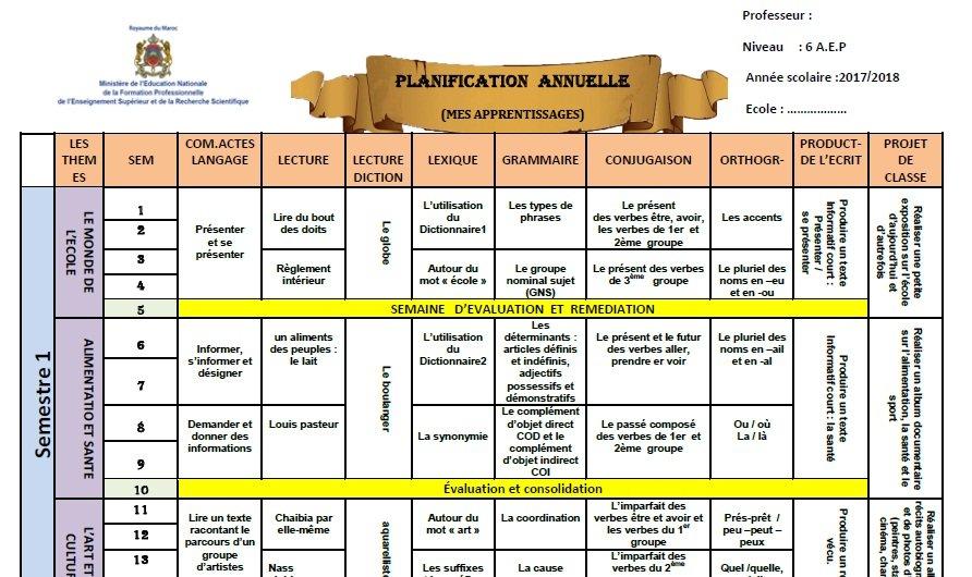 Photo of التخطيط السنوي متوافق مع Mes apprentissages en français- السادس ابتدائي